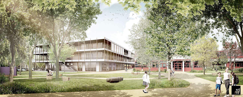 Visualisierung der geplanten Schulerweiterung des Schulzentrums in Norderstedt