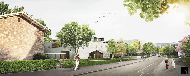 Visualisierung der geplanten Schulerweiterung Christoph Merian Schule in Basel CH
