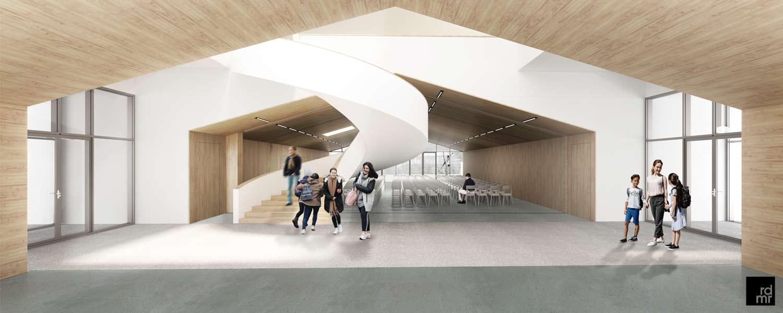 Innenraumvisualisierung der geplanten Schulerweiterung Christoph Merian Schule in Basel CH