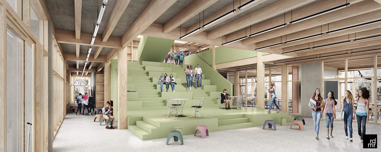Innenraumvisualisierung der geplanten Schulerweiterung des Schulzentrums in Norderstedt