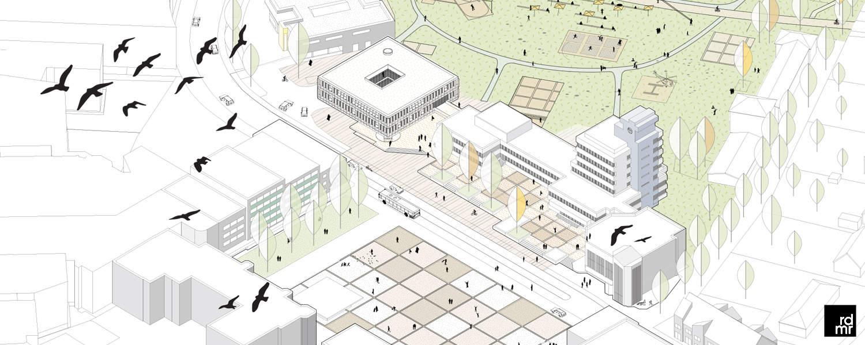 Visualisierung zur Rathauserweiterung in Ahrensburg